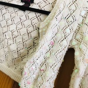 Say What? Shirts & Tops - Cream sequined sweater / shawl